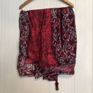 Peace by Lotta Stenson Red Silk Tie Dye Wrap OS
